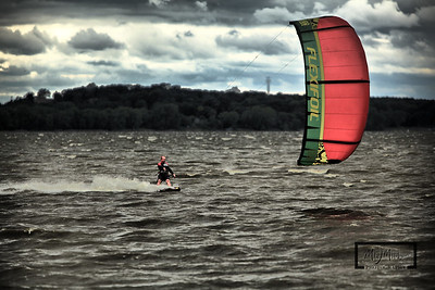 Kiteboarding at Charley's Bluff on Lake Koshkonong  HDR Manipulation  © Copyright m2 Photography - Michael J. Mikkelson 2009. All Rights Reserved. Images can not be used without permission.