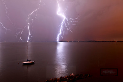 Lake Mendota during a Lightning storm  © Copyright m2 Photography - Michael J. Mikkelson 2009. All Rights Reserved. Images can not be used without permission.