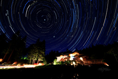 Star Trails on the front lawn of the Mountain Home Lodge, in Leavenworth, Washington© Copyright m2 Photography - Michael J. Mikkelson 2009. All Rights Reserved. Images can not be used without permission.