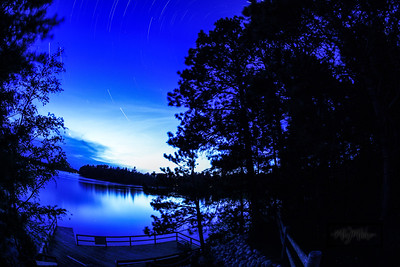 Swim docks and Rest Lake at Twilight, with some star trails beginning. YMCA Camp Jorn 2012 Spring Work Weekend © Copyright m2 Photography - Michael J. Mikkelson 2012. All Rights Reserved. Images can not be used without permission.