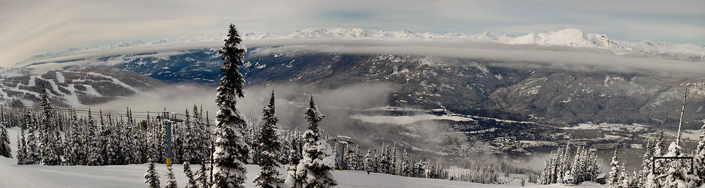 Whistler, British Columbia Panoramic:  Image was captured after some heavy snowfall looking down towards Whistler Village in Canada.  © Copyright m2 Photography - Michael J. Mikkelson 2009. All Rights Reserved. Images can not be used without permission.