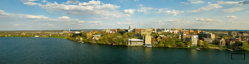 Aerial panoramic of the Madison skyline from Lake Mendota.  © Copyright m2 Photography - Michael J. Mikkelson 2009. All Rights Reserved. Images can not be used without permission.