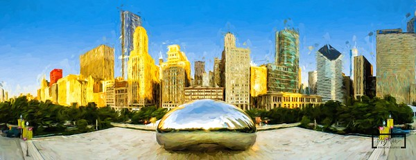 Cloud Gate Skyline Panoramic