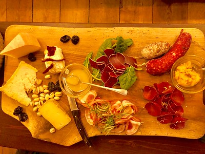 A fine euro meat and cheese platter in Hotel Cristallo's basement bar.