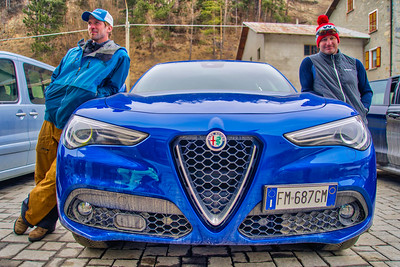 When in Italy, you must rent an Italian sports car to go skiing...