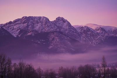 Woke up to a beautiful sunrise - the mountains were purple!