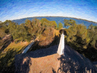 ray chapel from above impressionist oil