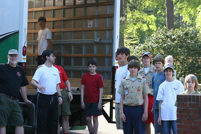 Boy Scouts helped unload and reload