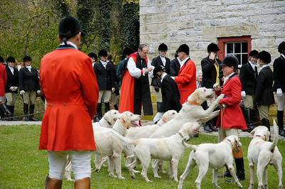 Annual blessing of the fox hunting riders at the Iroquios Hunt Club in Lexington, Kentucky USA. The event marks the beginning of the hunting season.