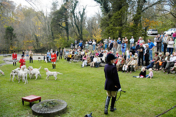 Annual blessing of the fox hunting hounds, horses, and riders at the Iroquios Hunt Club in Lexington, Kentucky USA. The event marks the beginning of the hunting season.