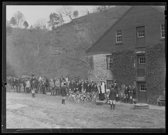 Title: Blessing of the Hounds (Iroquois Hunt Club); group of people gathered around pack of dogs Date: 11/7/1936 Collection: Collection on Lafayette Studios