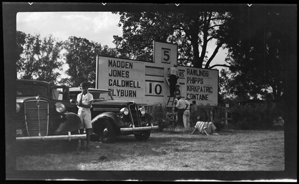 Title: Iroquois Hunt Club; polo game scenes (scoreboard) Date: 8/10/1936 Collection: Collection on Lafayette Studios
