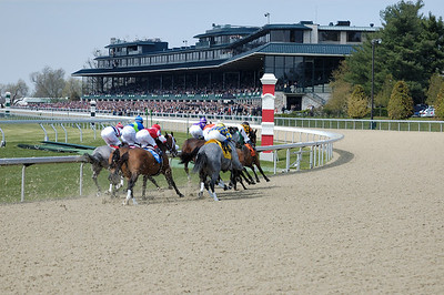 Stock image of thoroughbred horse racing at the Keeneland track in Lexington Kentucky USA