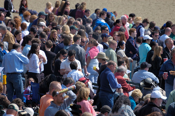 Stock image of a small section of the spectator crowd at the spring meet for the Keeneland horse racing track in Lexington Kentucky USA