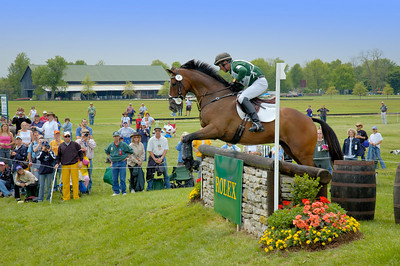 Stock image of horse and rider cross country international competitors at the Rolex Kentucky Three Day Event at the Kentucky Horse Park in Lexington, Kentucky, USA.