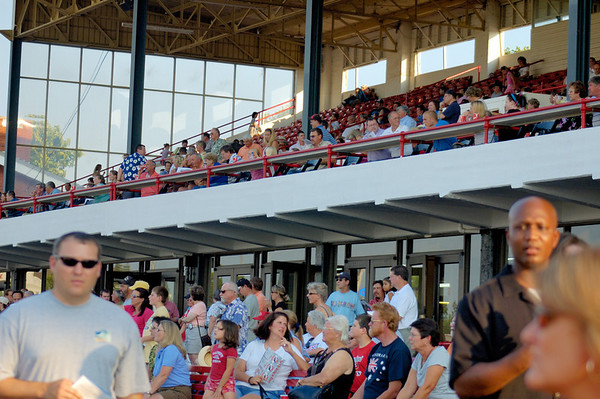 Stock image of the grandstand and spectators at the annual quarter horse races at the Red Mile track in Lexington, Kentucky, USA
