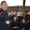 Coach Mark Richt visited with the members of the equestrian team before the meet with New Mexico State on Friday, March 7, 2014, in Bishop, Ga. (Photo by Steven Colquitt)