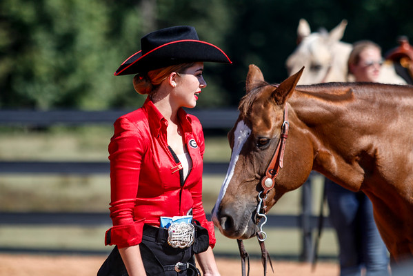 Members of the Georgia Equestrian Team perform in the Black and Red scrimmage at the Georgia Equestrian Complex in Bishop, Ga. on Saturday, Sept. 24, 2016. (Photo by John Paul Van Wert / Georgia Sports Communication)
