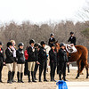 The UGA Equestrian team during the National Anthem during the Bulldogs' competition with South Carolina at the UGA Equestrian Complex in Bishop, Ga., on Friday, February 3, 2017. (Photo by Cory A. Cole)