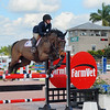 WELLINGTON, FLORIDA - JANUARY 20, 2017: An unidentified rider jumps in the Winter Equestrian Festival during Week 2 at the Palm Beach International Equestrian Center in Wellington, Florida.