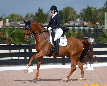 WELLINGTON, FLORIDA - February 11, 2018: Adequan Global Dressage Festival 5 competitors Olympian Adrienne Lyle and Dimacci DC taking first place in their class in Wellington, Florida
