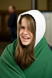 Hayley bundles up in Memo's cooler.