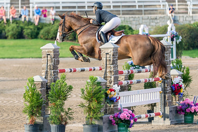 A participant in the Atlanta Summer Classic horse show in the $35,000 Grand Prix High Jumping Championship, heald at the Georgia International Horse Park.