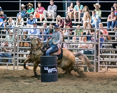 Jennifer Vickers in the barrel racing event.