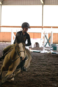 Morgan cranks her horse over in a turn during the jump-off