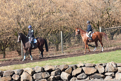 Sarah and Natalie return from a ride on the bridle trails.