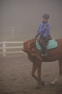 Natalie and Memo during a foggy morning workout.