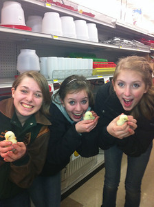 Natalie, Emily and Beth with chicks.