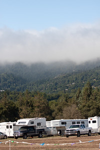 The ever-present fogbank hangs over the mountains.