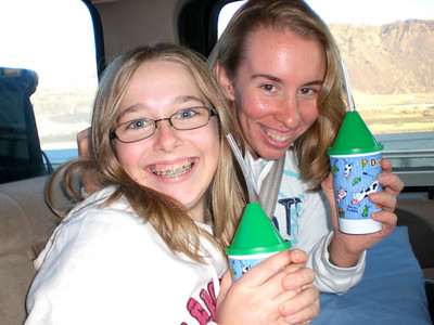 Nat and Elise with their Dutch Bros. sippy cups.