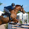 WEST PALM BEACH, FLORIDA - January 13, 2018: Sara White and A Travolta competing at week 1 of the Winter Equestrian Festival in Wellington, Florida