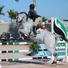 WEST PALM BEACH, FLORIDA - January 13, 2018: Gabrielle Sorbo and So Prim competing at week 1 of the Winter Equestrian Festival in Wellington, Florida