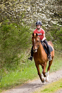Natalie and Memo having a good gallop up the hill.