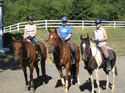 Jocelyn, Sarah and Janice after the big trail ride.