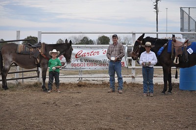 Bronson Morrison 7 & Under High Point, John Higgins Jr 14 & Over High Point, & Cody Davis 8-13 High Point Winners.  Buckles Donated by Carter's Work & Western Wear of Milard MO..
