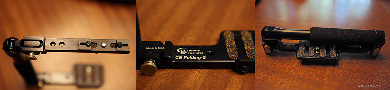 """Custom Brackets CB Folding-S<br /> <br /> This item is made of aircraft quality black anodized aluminum. Most of the parts are machined. It is a solid bracket. <br /> <br /> This item is made is the USA to a very high standard. You can feel it when you pick it up. It is a hefty 340 grams. The bracket folds flat and is easy to store. The pivoting points and the locking mechanisms are really well made. The buttons to release the locks are brass. The screws for connecting the camera and hot shoe to the bracket are quality items. <br /> <br /> There is a lot of value put into this product. We got two of them. They cost around $80 in Amazon and only $70 in B&H. We purchased ours in Singapore for around $100. <br /> <br /> If you use a Canon 1D series or a Nikon D3 you will need the tall version. The """"S"""" is the short version.<br /> <br /> Specifications<br /> • Weight:  12 oz.   (340 g)<br /> • Bracket Dimensions:  8-1/8"""" high, 7"""" wide, 1-7/8"""" deep<br /> • Metric Dimensions: 20.6 cm high, 17.8 cm wide, 4.7 cm deep<br /> • Storage Dimensions:  8-5/8"""" high, 2-1/2"""" wide, 1-7/8"""" deep<br /> • Metric Storage Dimensions:  21.9 cm high, 6.3 cm wide, 4.7 deep<br /> • Nominal lens-to-flash distance:  11""""   (27.9 cm)"""