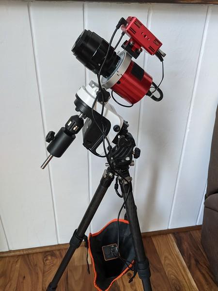 Sky Watcher AZ-GTi with ASI2600mc Pro, Voigtlander 110mm APO lens, and ASIAir Pro