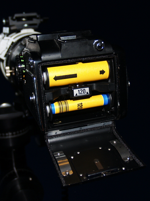 Back end of the Mamiya M645 camera with 120 format film