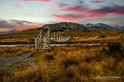 The suspension bridge to Edoras, the capital of Rohan .