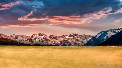 Fiery sunset in the Ashburton alpine valley