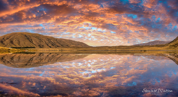 Ashburton lakes district sunset reflection