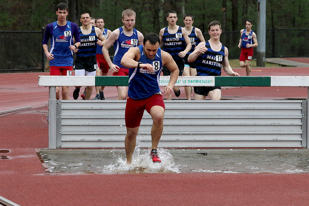 . Eric Loeschner Memorial Invitational Saturday, April 20, 2019 at Fitchburg State University\'s Elliot Field Athletic Complex. UMass Lowell\'s Joey Coughlin competes in the steeple chase during the meet. SENTINEL & ENTERPRISE/JOHN LOVE