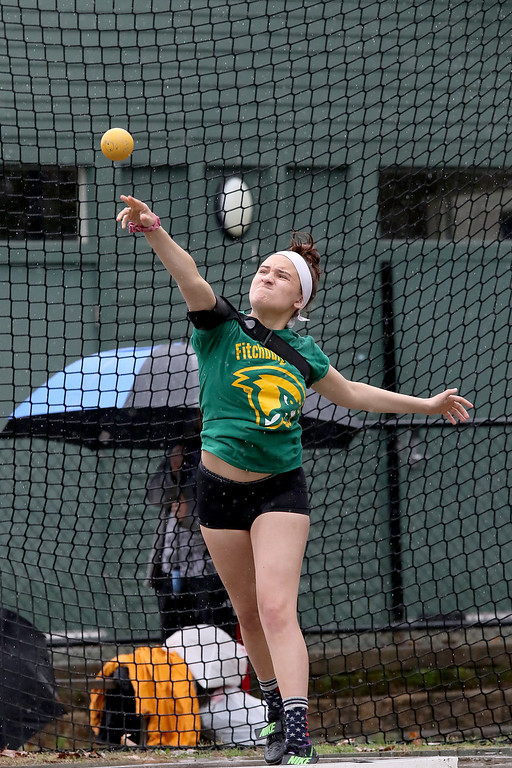 . Eric Loeschner Memorial Invitational Saturday, April 20, 2019 at Fitchburg State University\'s Elliot Field Athletic Complex. FSU\'s Abbey Castelo competes in the shot put during the meet. SENTINEL & ENTERPRISE/JOHN LOVE