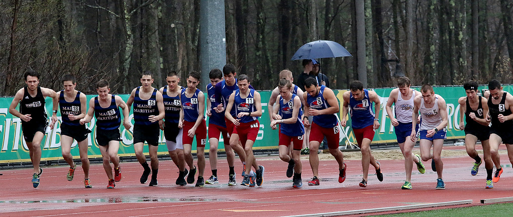 . Eric Loeschner Memorial Invitational Saturday, April 20, 2019 at Fitchburg State University\'s Elliot Field Athletic Complex. The start of the men\'s steeple chase. SENTINEL & ENTERPRISE/JOHN LOVE