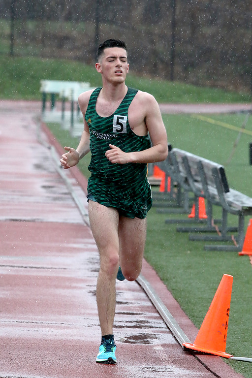 . Eric Loeschner Memorial Invitational Saturday, April 20, 2019 at Fitchburg State University\'s Elliot Field Athletic Complex. FSU\'S Brandon DiGergorio competes in the 10K during the meet. SENTINEL & ENTERPRISE/JOHN LOVE