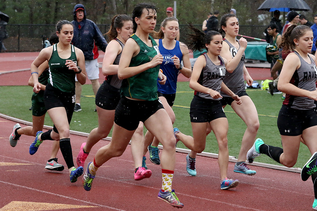 . Eric Loeschner Memorial Invitational Saturday, April 20, 2019 at Fitchburg State University\'s Elliot Field Athletic Complex. FSU\'s Jenny Desilvestre, on the outside, at the start of the 1500 during the meet. SENTINEL & ENTERPRISE/JOHN LOVE